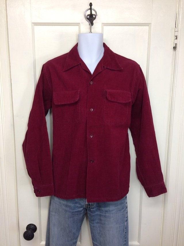 1940s dark magenta burgundy corduroy loop collar shirt by Nelson Paige, size medium