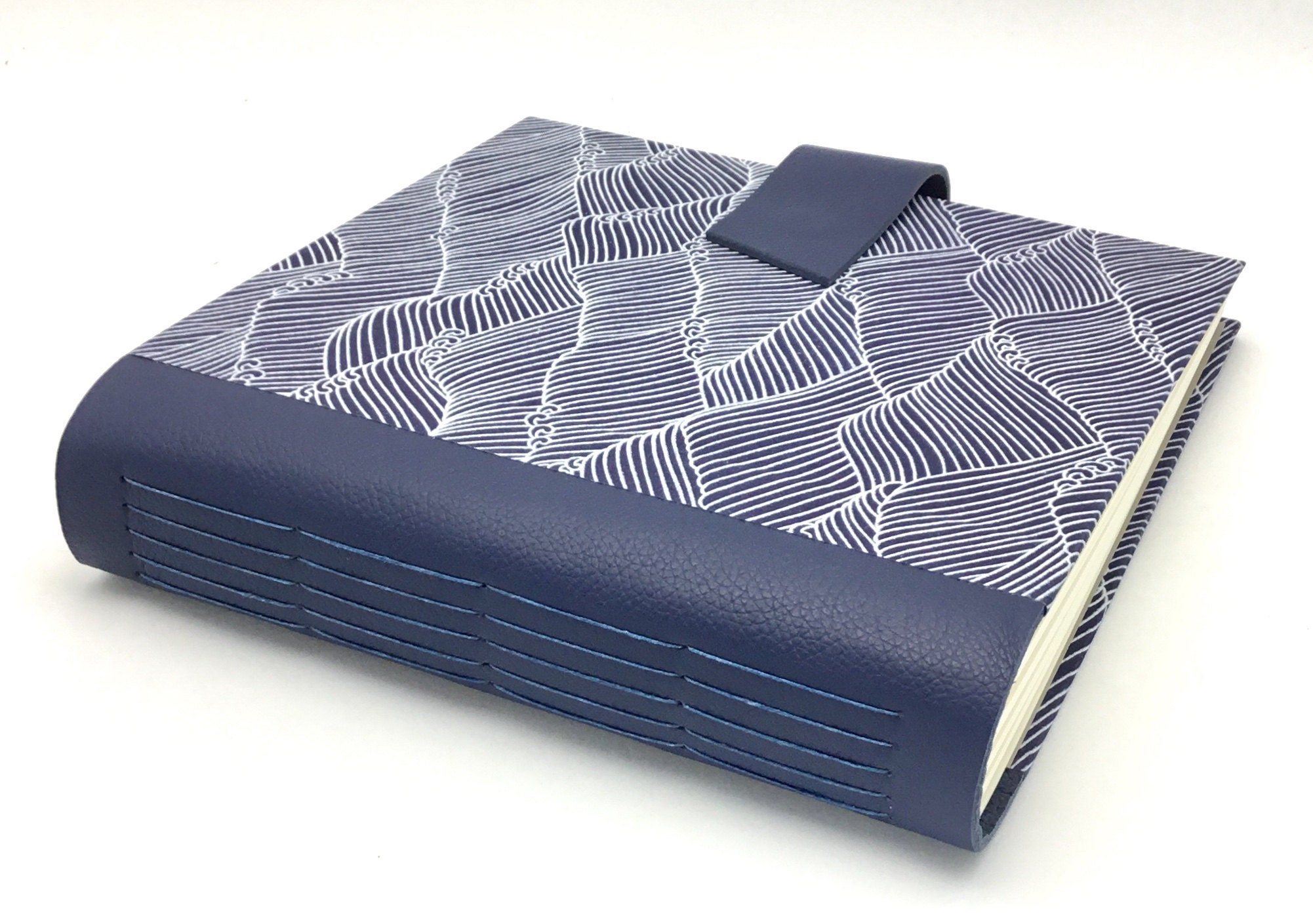 waves with blue leather