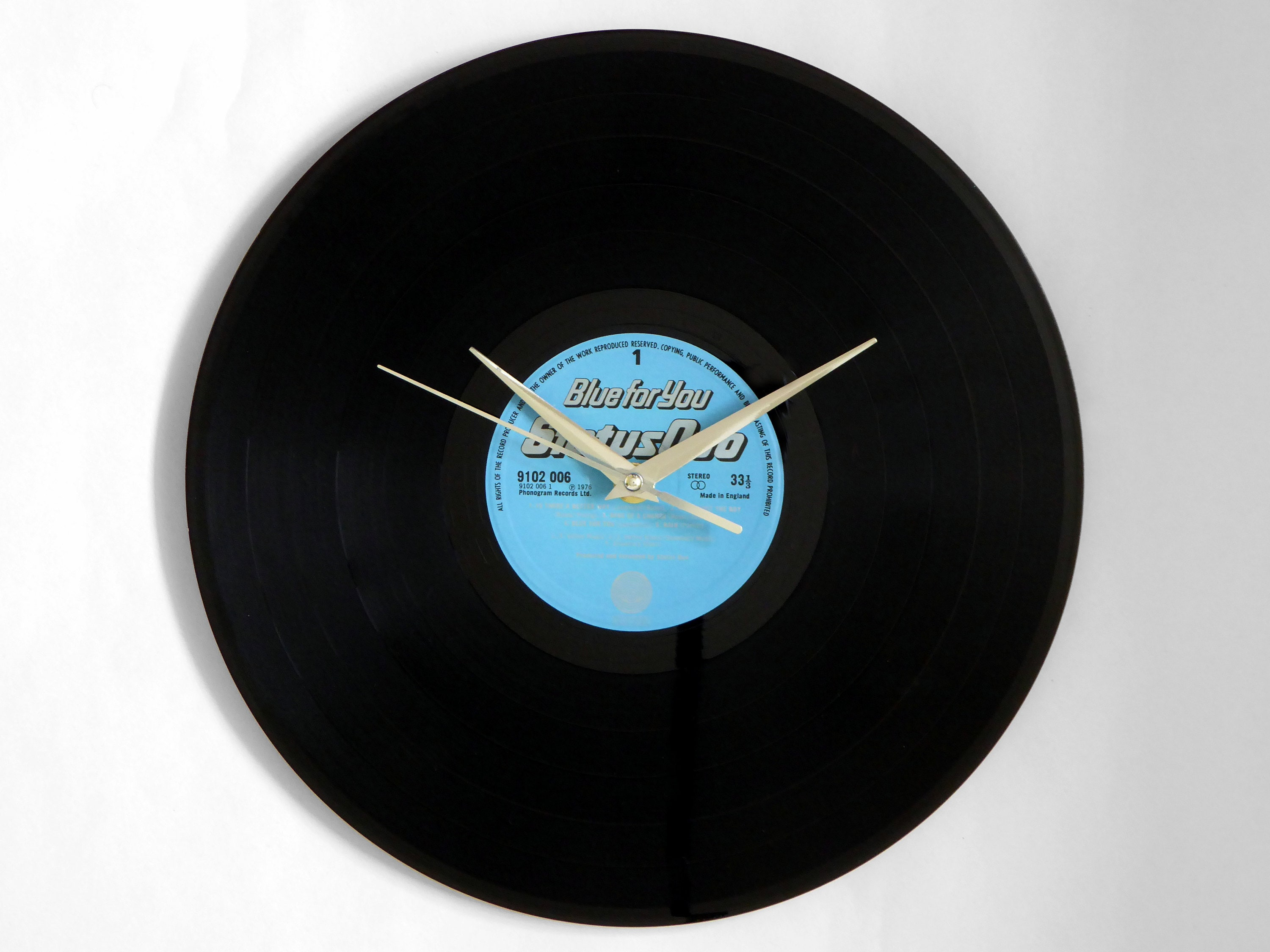 Status Quo Blue For You Vinyl Record Wall Clock