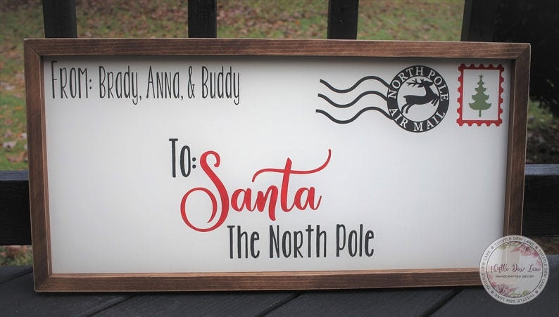 Customized Letter to Santa Wooden Sign