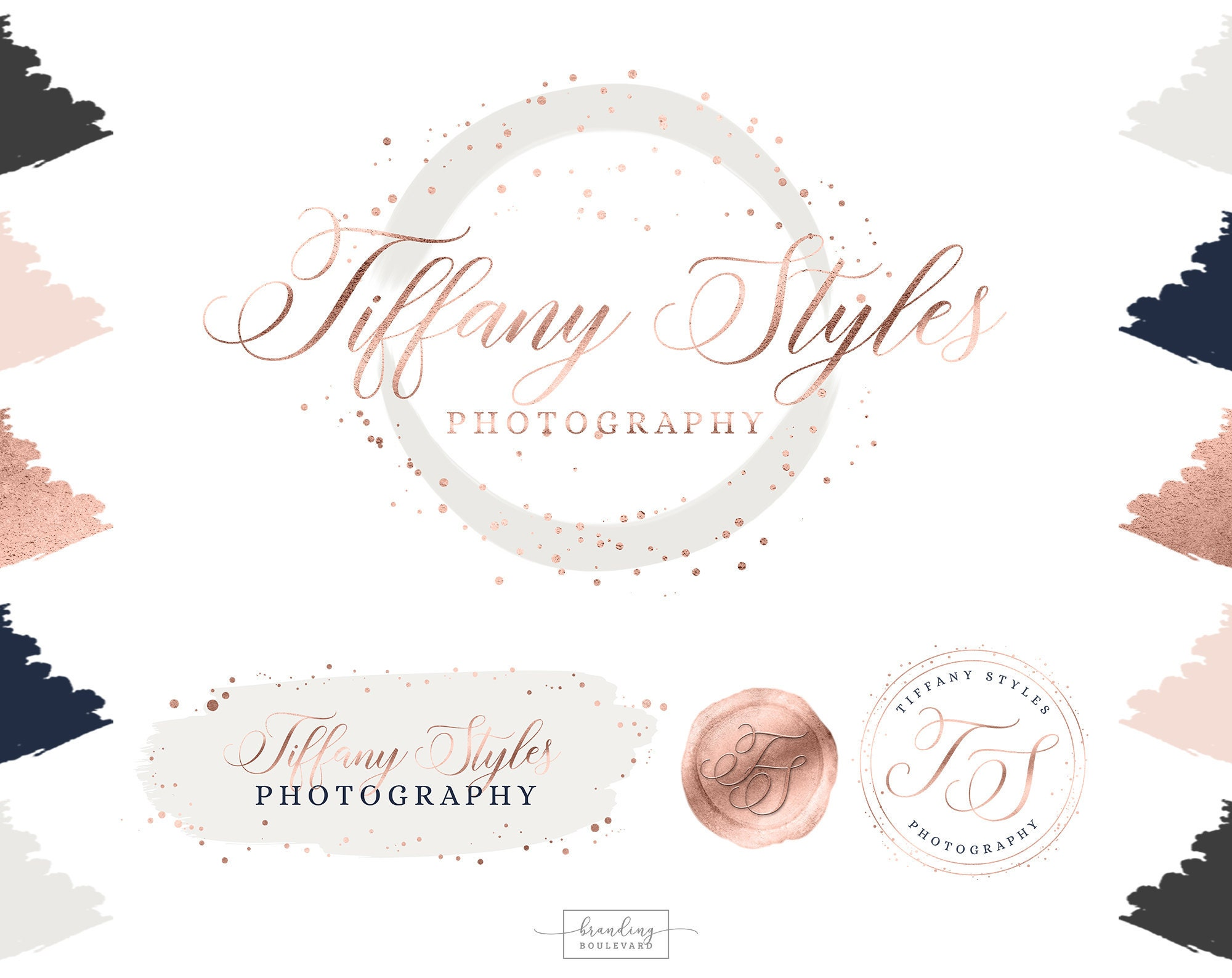 Rose Gold Blush Pink Light Gray and Navy Blue Company Logo - With Brush Strokes, and Wax Seal Look Logo