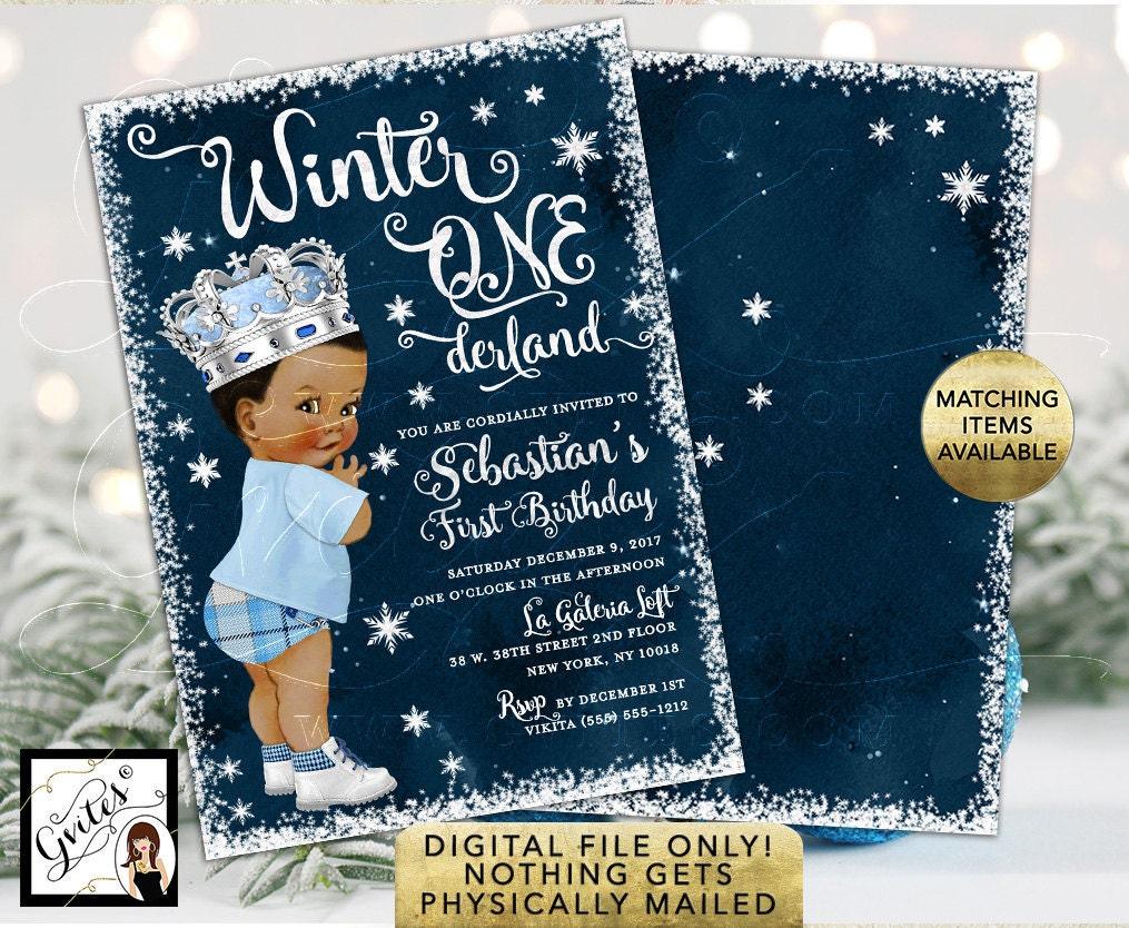 African American Vintage Winter Onederland Invitation