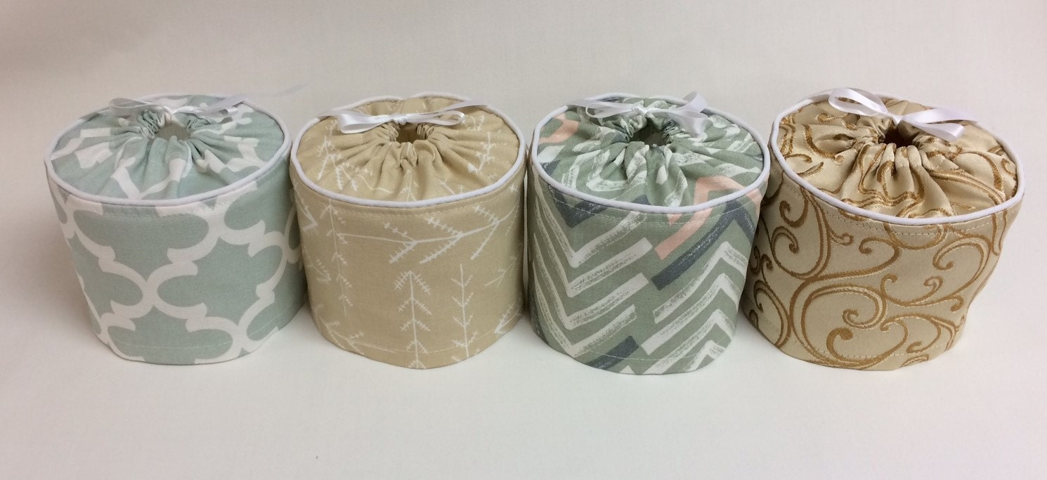 GiftsandHomeDecorUS Toilet Paper Covers for a pop of color.