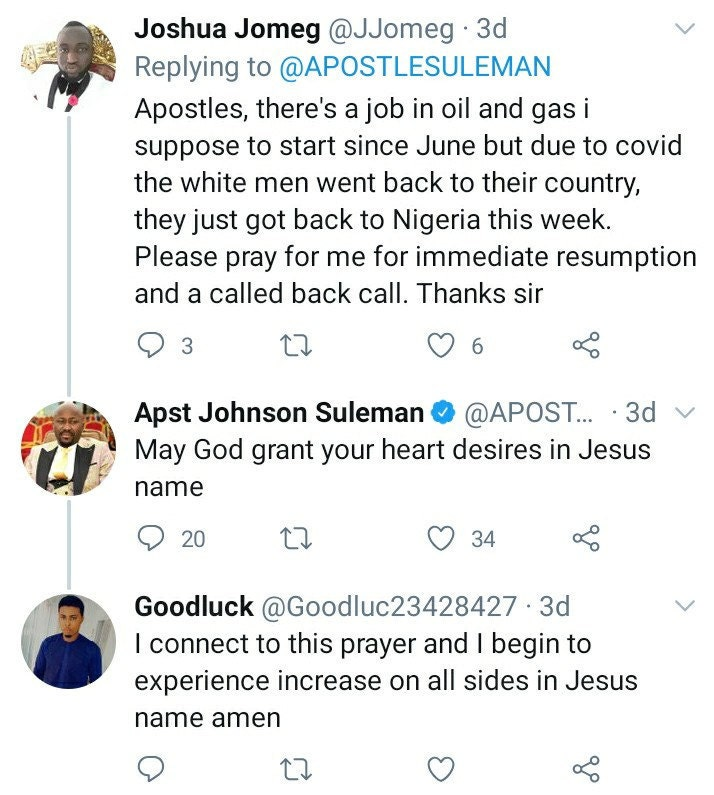 Apsotle Suleman prays for a man seeking a job via Twitter