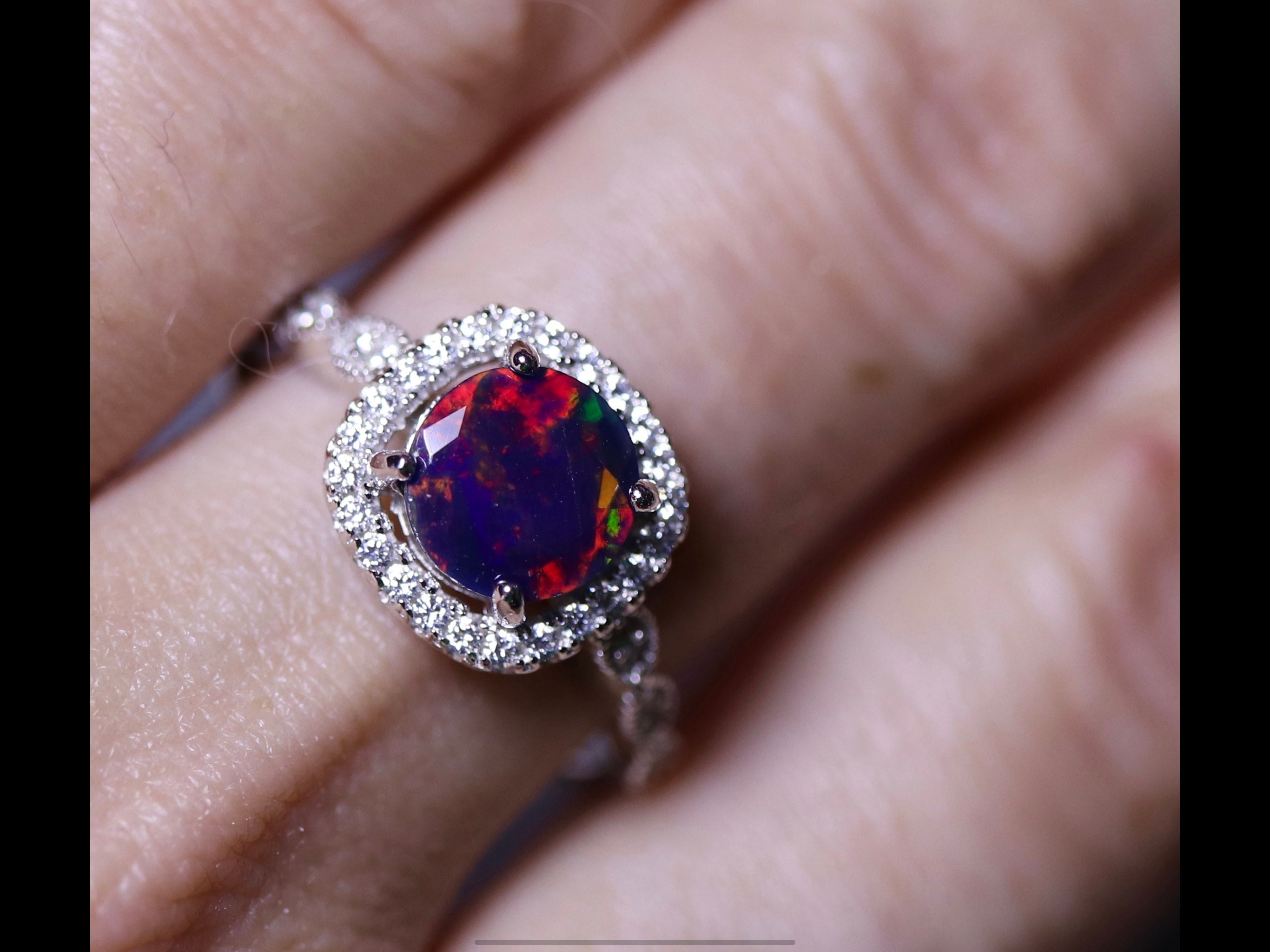 Sterling silver black opal engagement ring setting with matching band