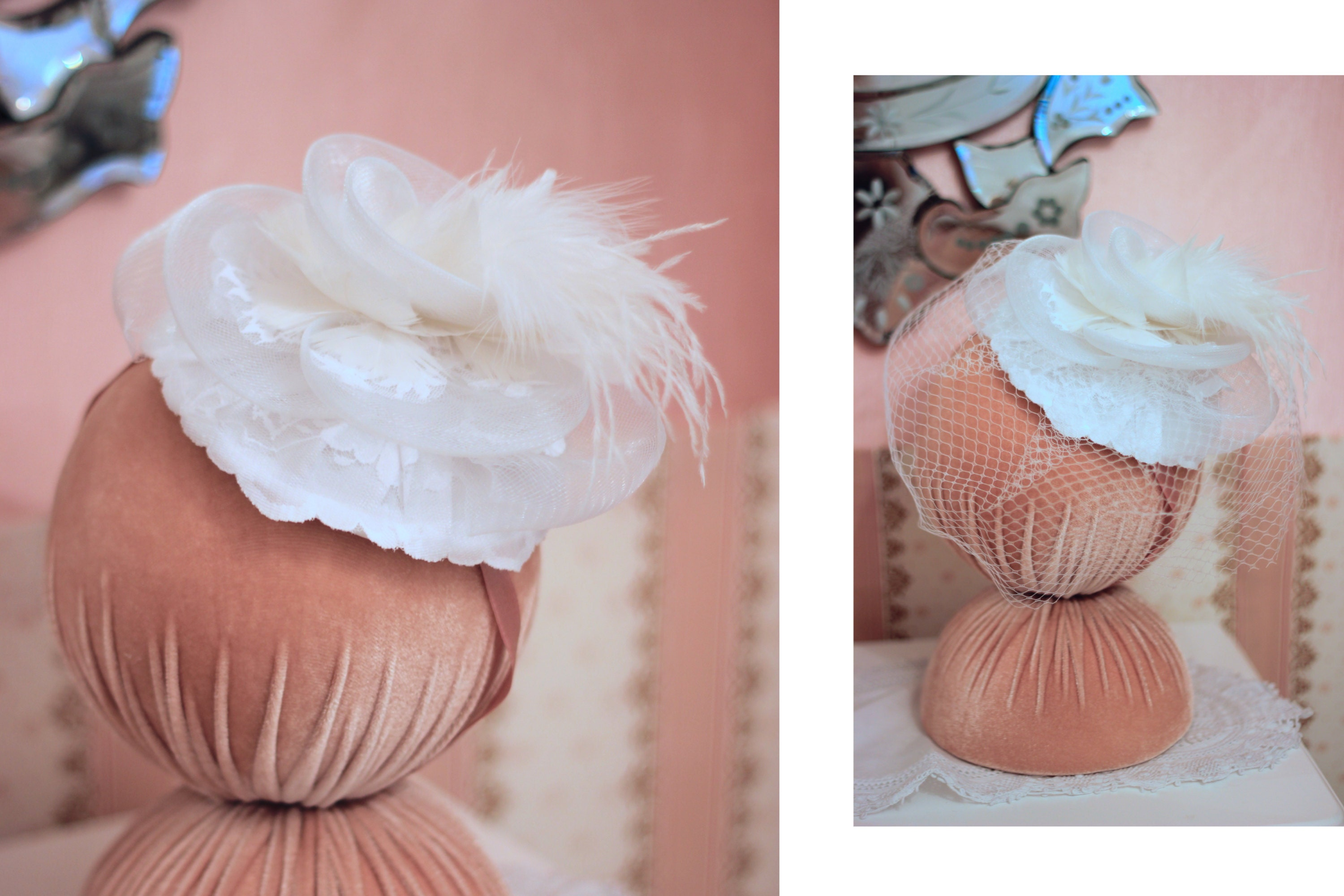 Versatile bridal mini hat you can use with or without the veil, by Elizabete Munzlinger.