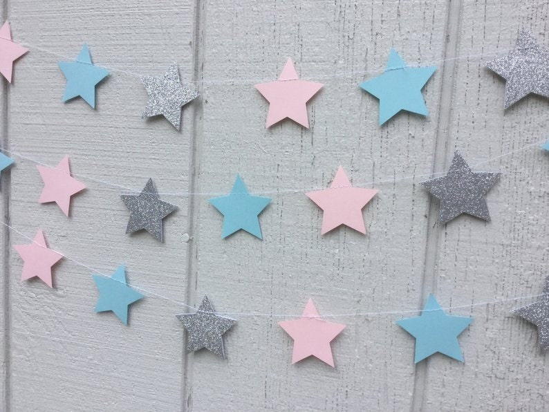 star garlands in pink light blue and glitter silver