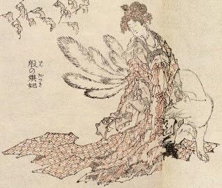 estampe renard kitsune rodant femme japonaise geisha