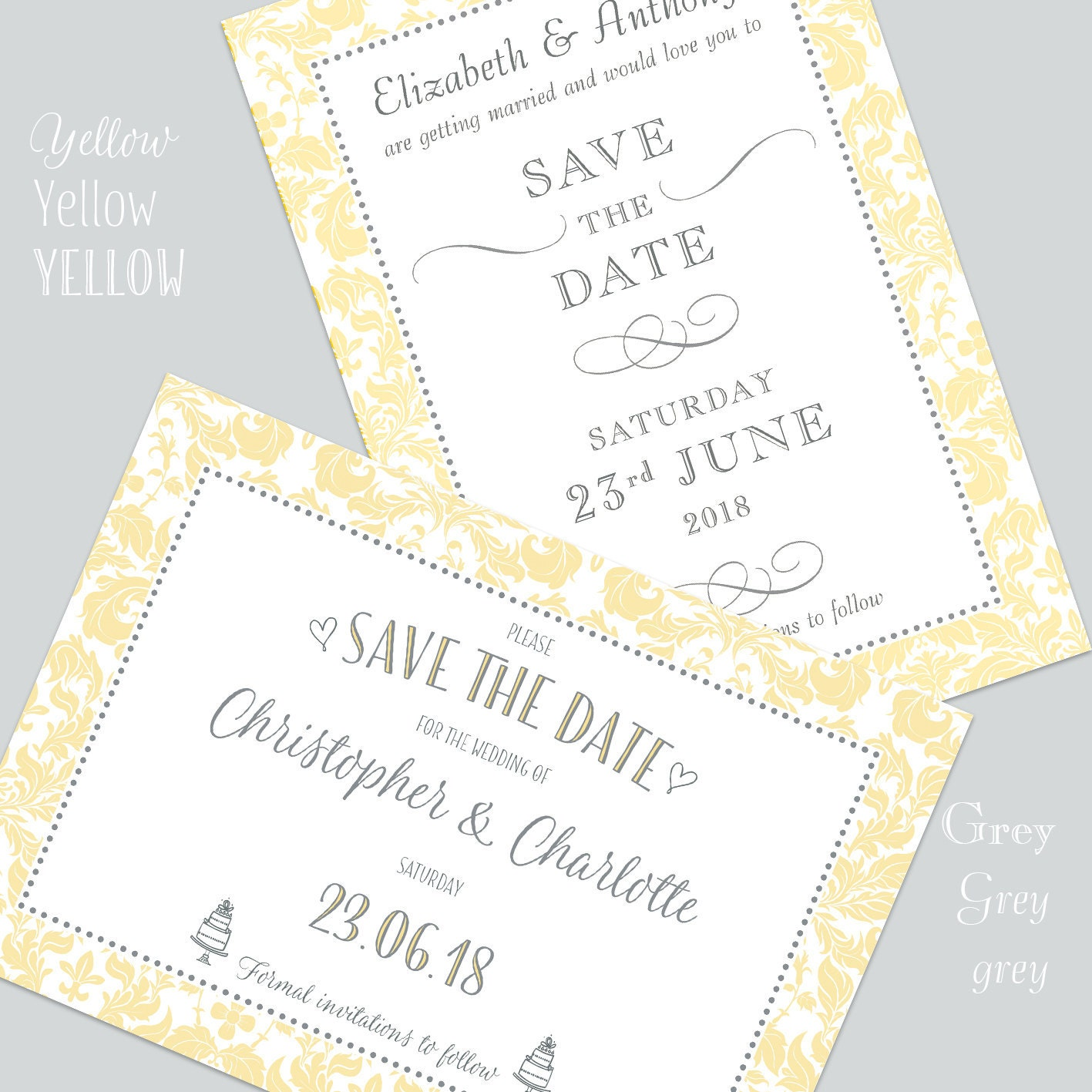 Yellow and Grey Save the Date Cards