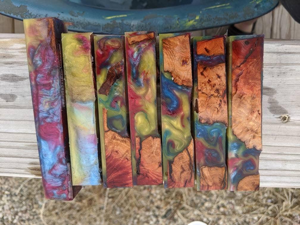 hybrid pen blanks manzanita burl and rainbow