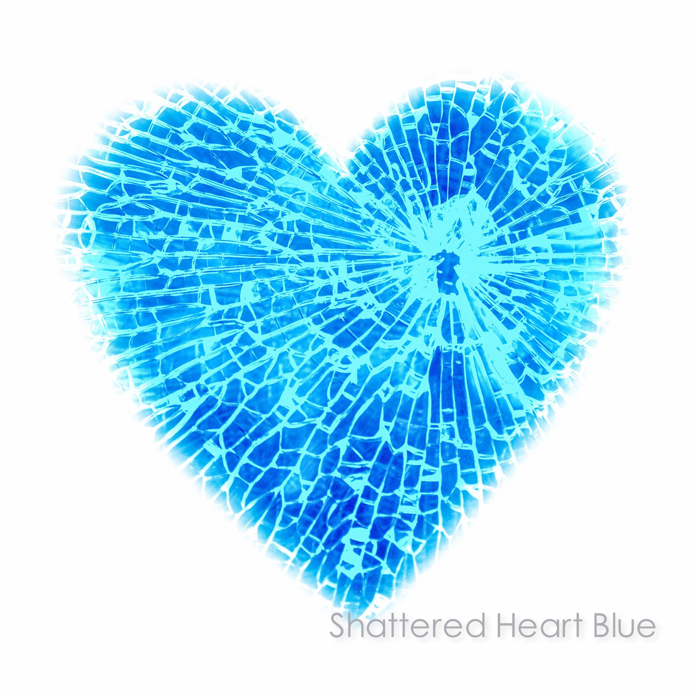 blue heart on white background with shattered glass bullet hole effect- available in limited edition unframed heart prints and ready to hang wall art