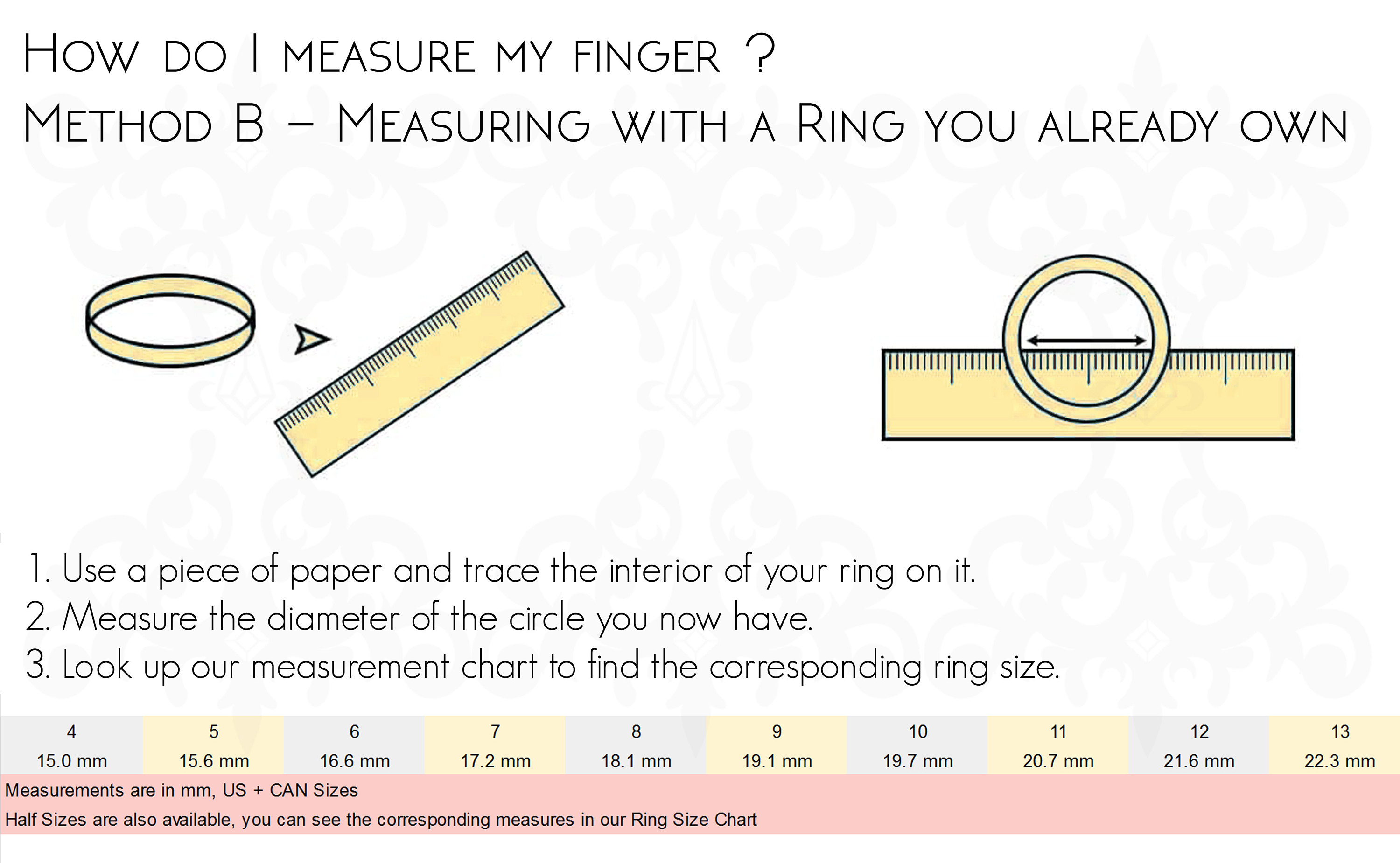 ring sizing chart measurement how to measure ring that i own