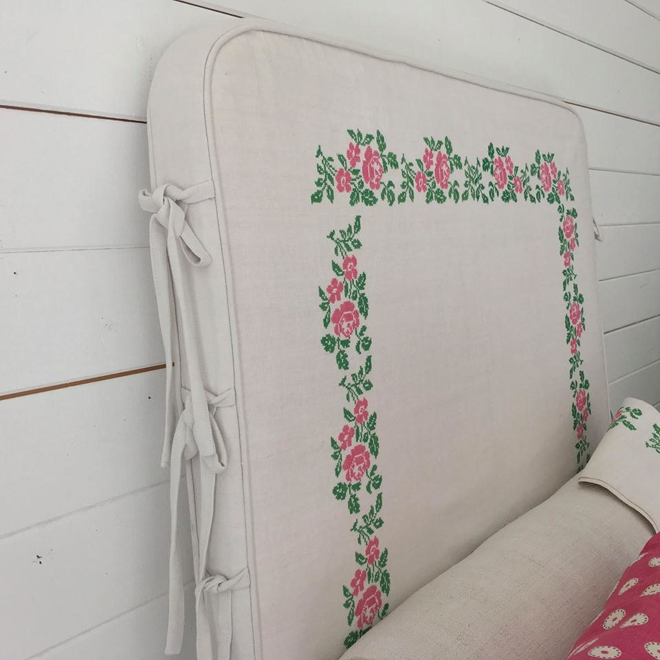 Loose cover headboard with ties