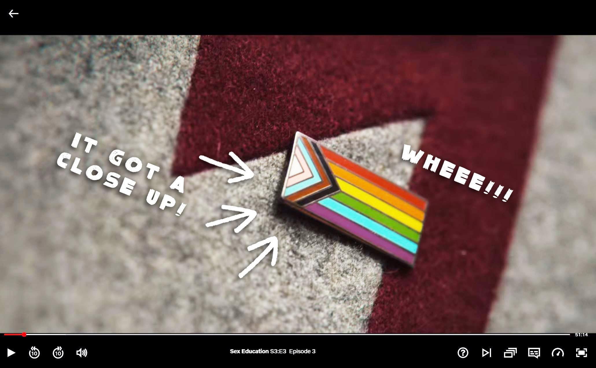 Sex Education Season 3 Rainbow Enamel Pin Badge Worn Ola Costume