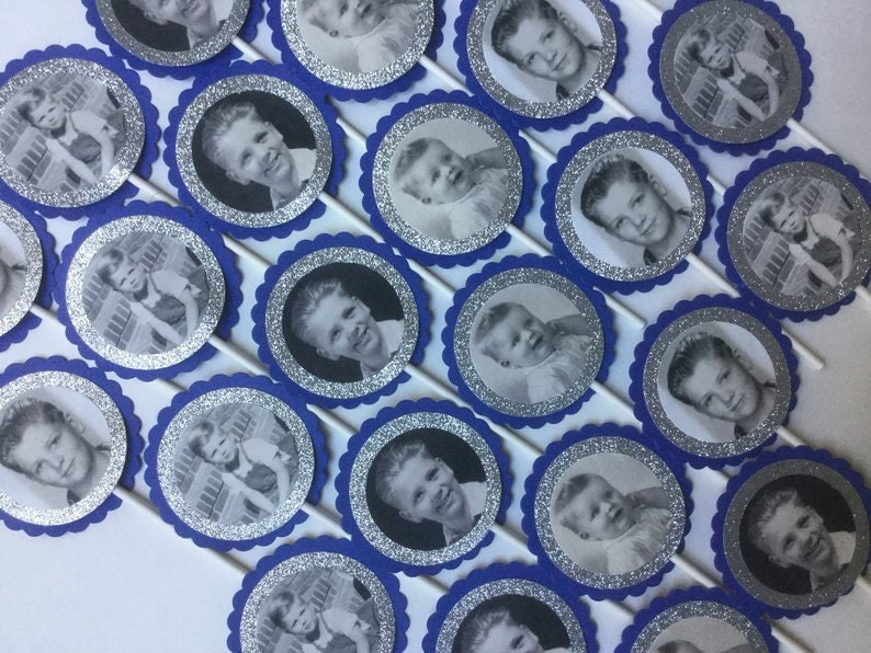 cupcake toppers in blue and silver glitter with old black and white picture of boy