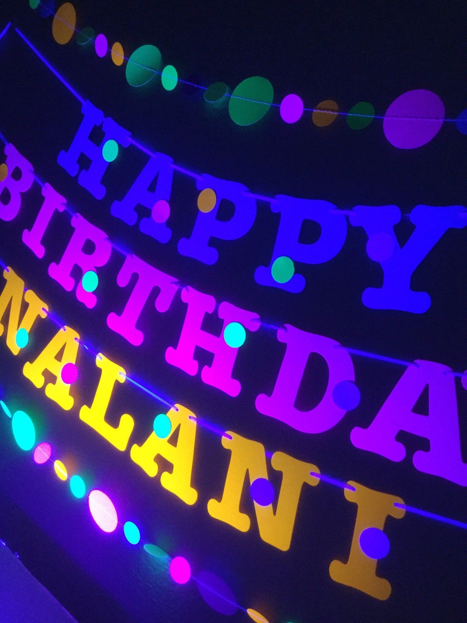 HAPPY BIRTHDAY in 3.5 Sizzix All Star letters in neon for a glow party