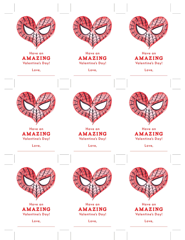 HostClubco Printable Amazing Spiderman Valentine