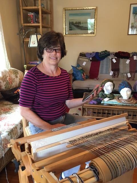 Kathy at her rigid heddle loom