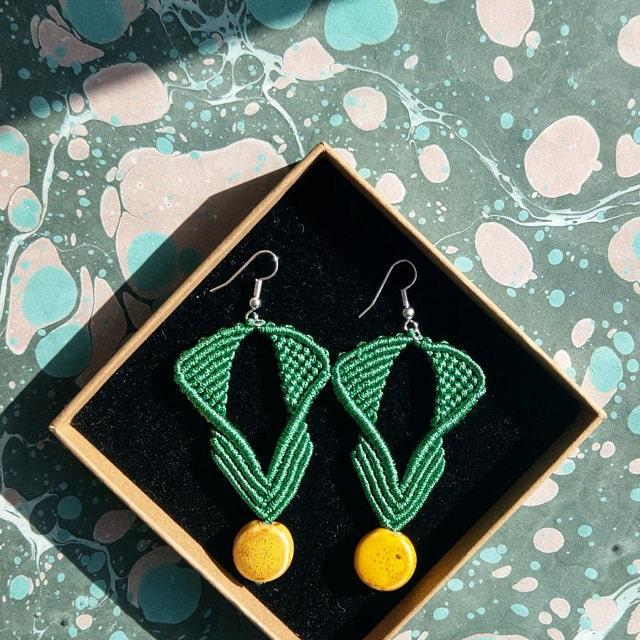 yellow ceramic beads macrame green earrings handmade dojore