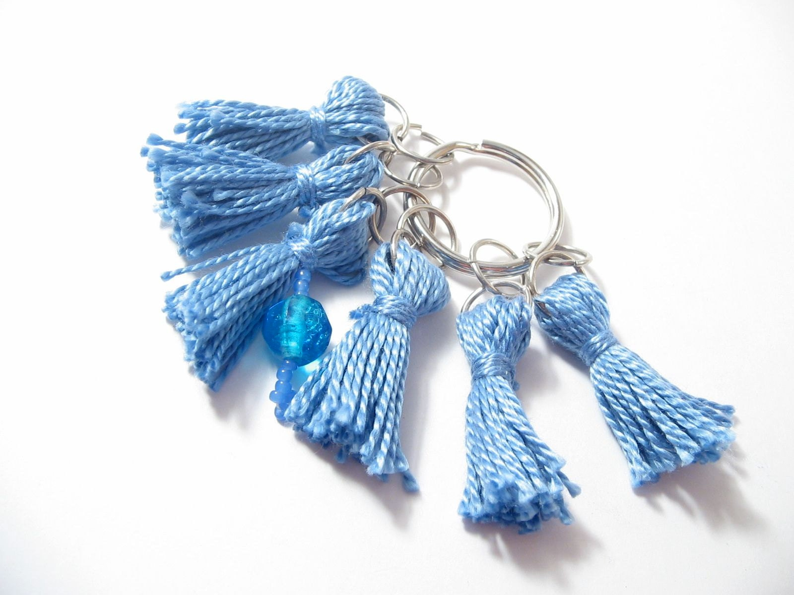 Light blue stitch marker set (with beaded row marker) from Lizbeths Garden