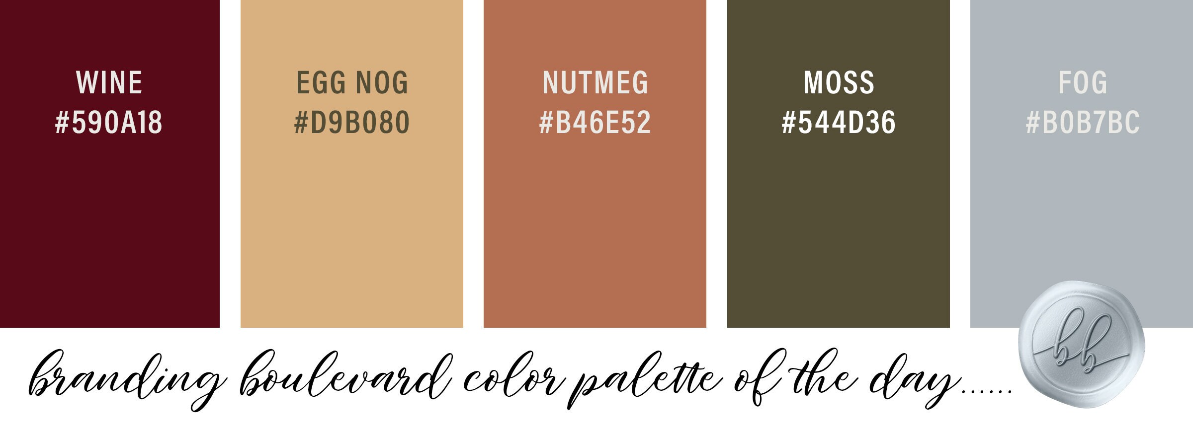 Color Palette of the Day - Harvest Breeze - Wine Dark Red, Eggnog Yellow, Nutmeg Orange, Moss Green, and Fog Gray