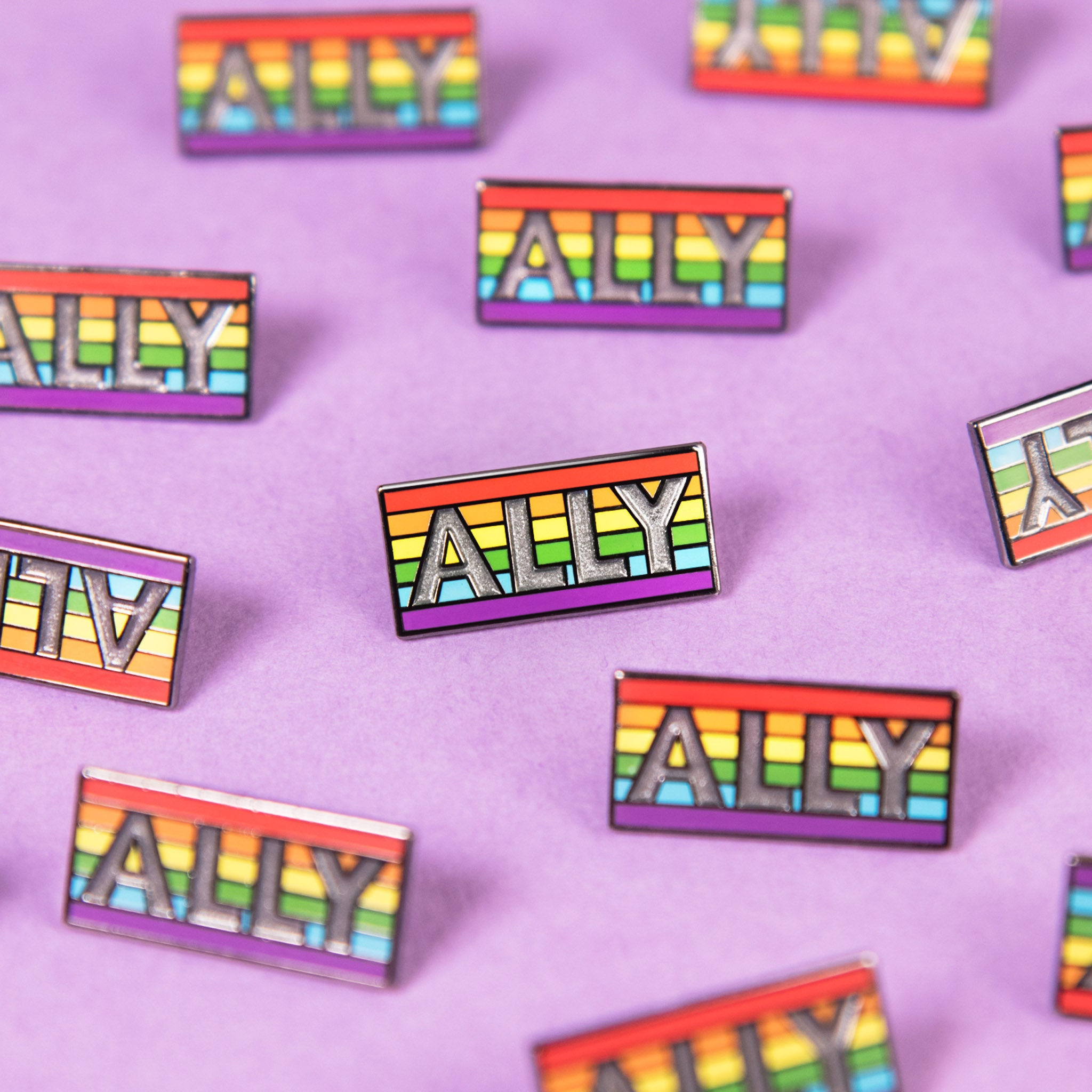 Rainbow Ally Support Badge Enamel Pin Etsy LGBT Pride Flag