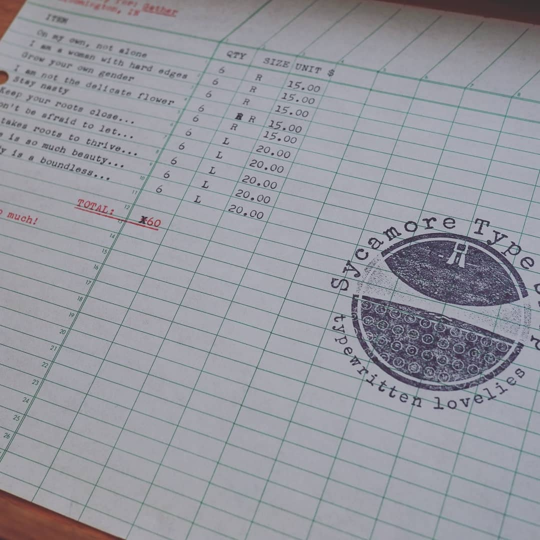 Hand-typed invoice on vintage paper, duh.