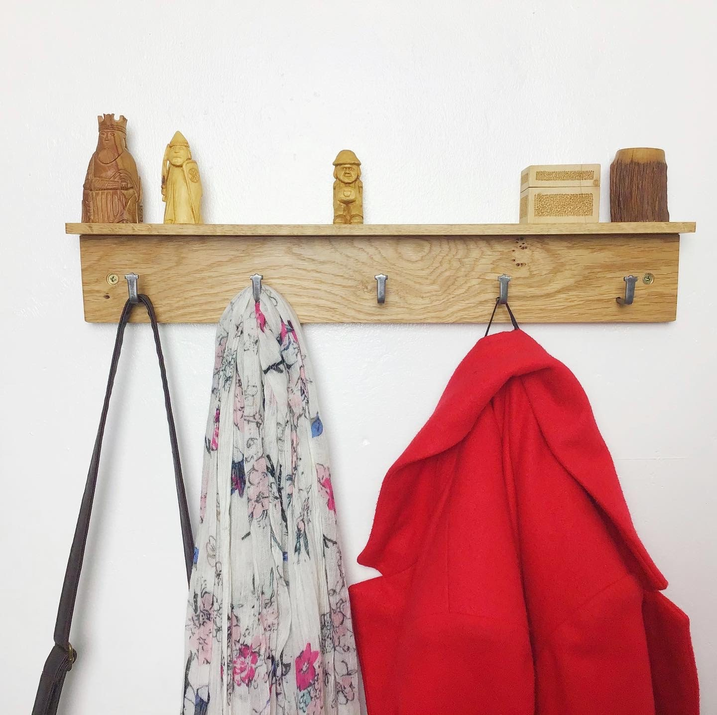 50cm long Coat rack with 5 hooks and shelf - by gorlech UK