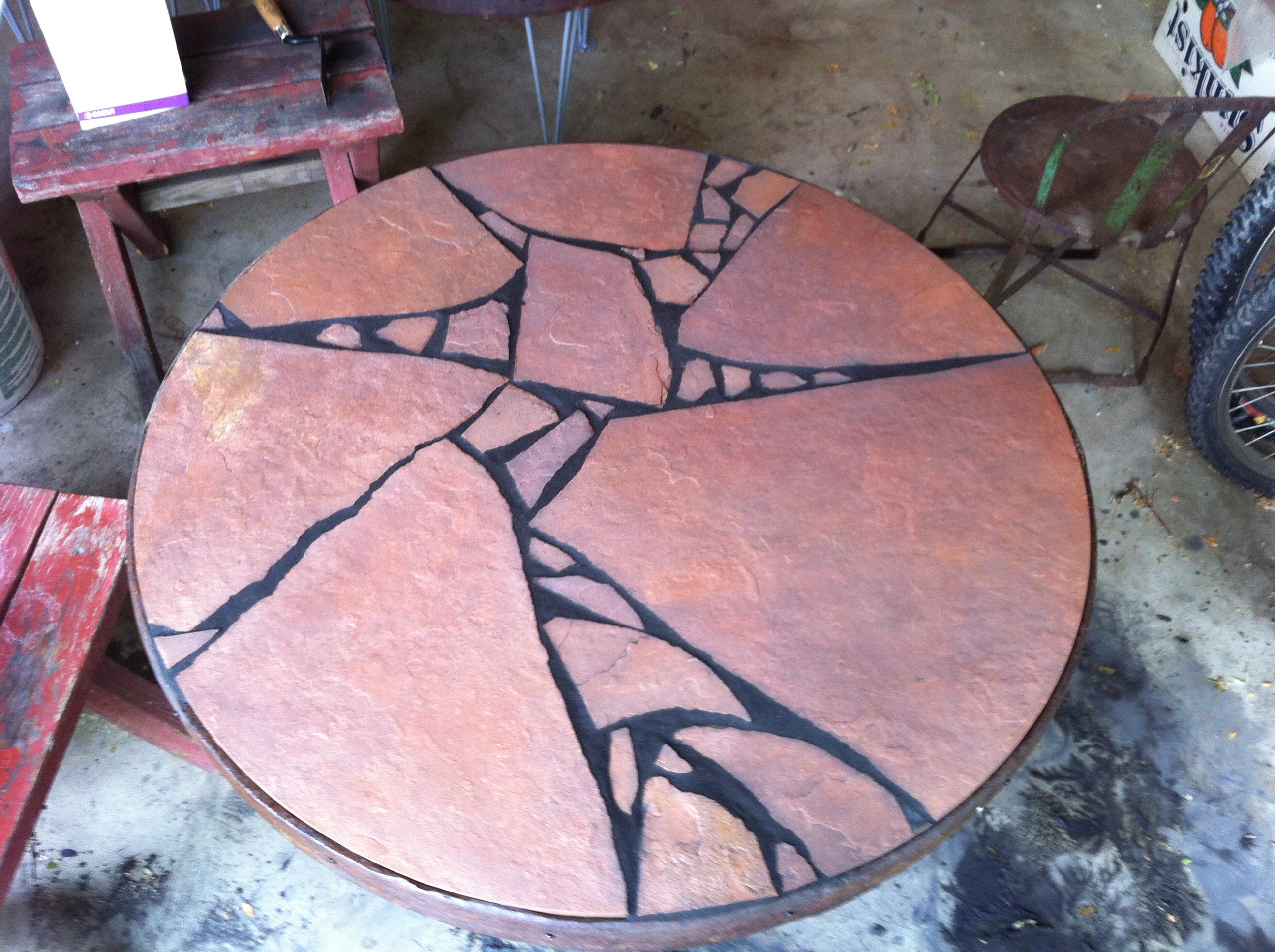 Johns table in progress.