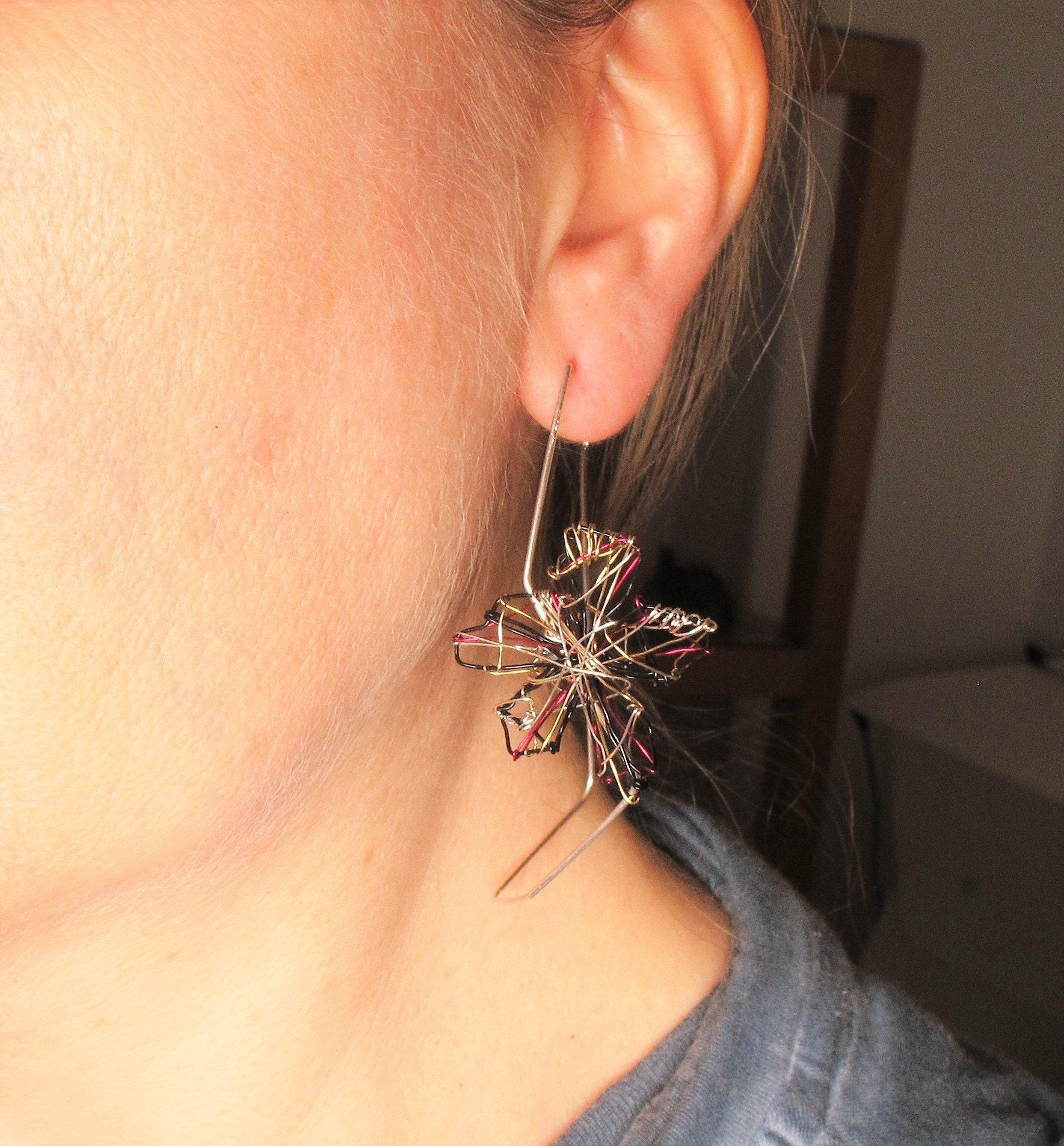 Art earrings, large silver hoops, flower earrings