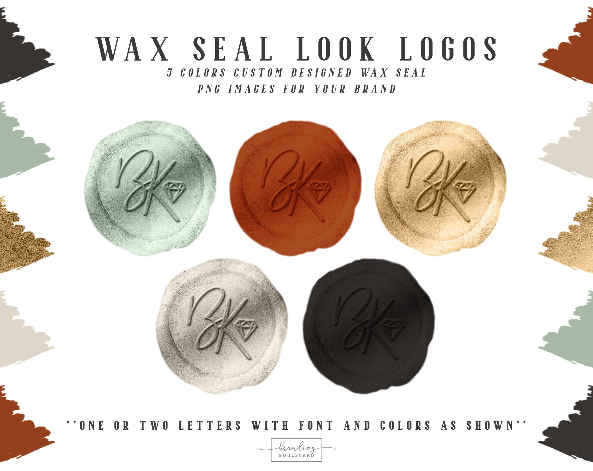Wax Seal Look Logos - From the Bella Knight Collection in the 5 colors shown - Get them customized with your initials!