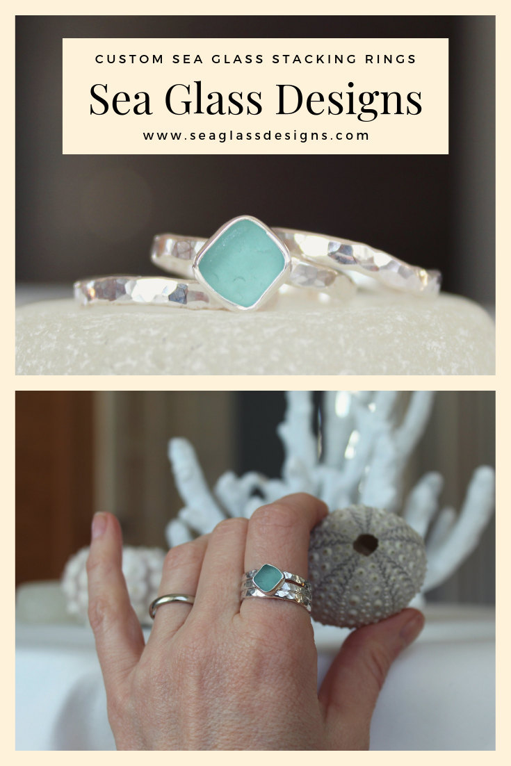 Sea glass rings, sea glass jewelry