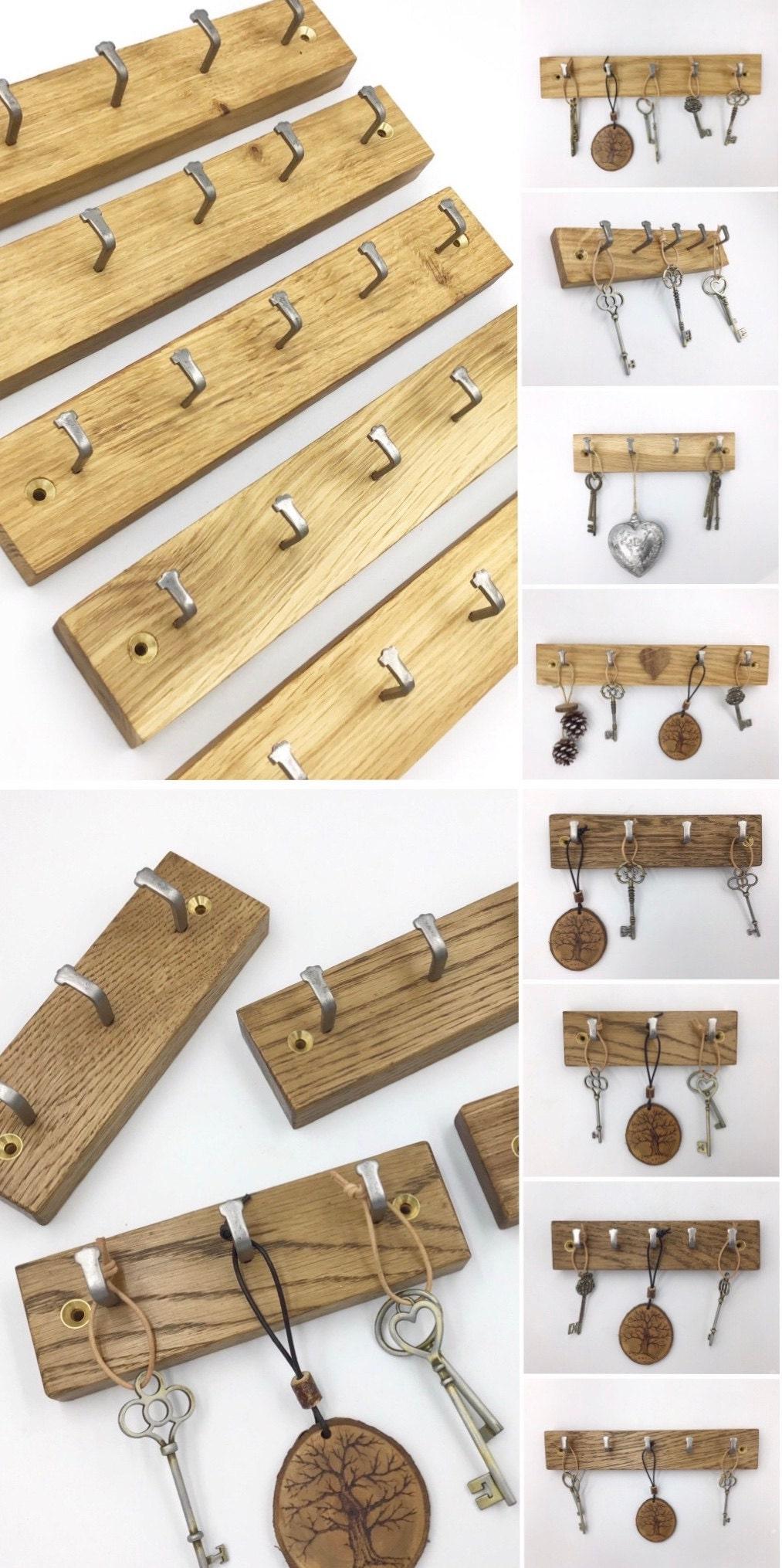 Gorlech Oak wood key racks in light and dark Oak, handcrafted in Wales, UK