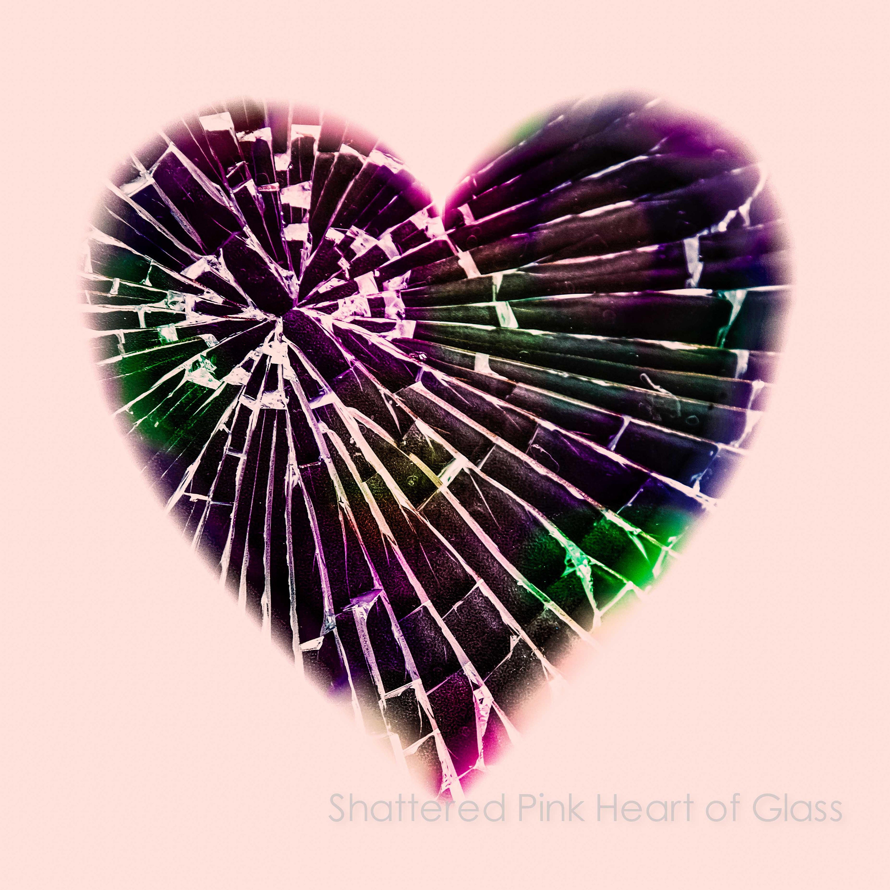 pink heart shattered glass wall art and fine art prints- black heart on pink background- available as unframed limited edition prints and ready to hang wall art in custom sizes
