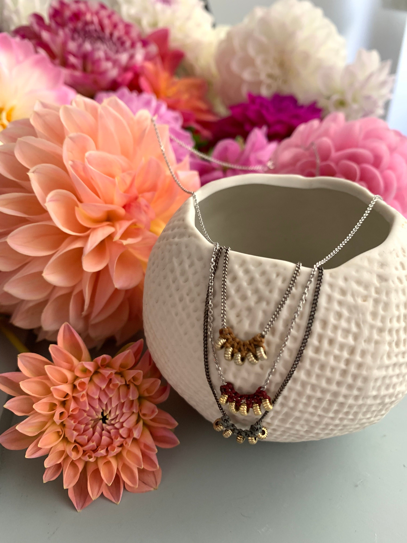 dahlias autumn madrid farm flowers dalias ecofriendly dainty necklace  collar plata hecho a mano madrid