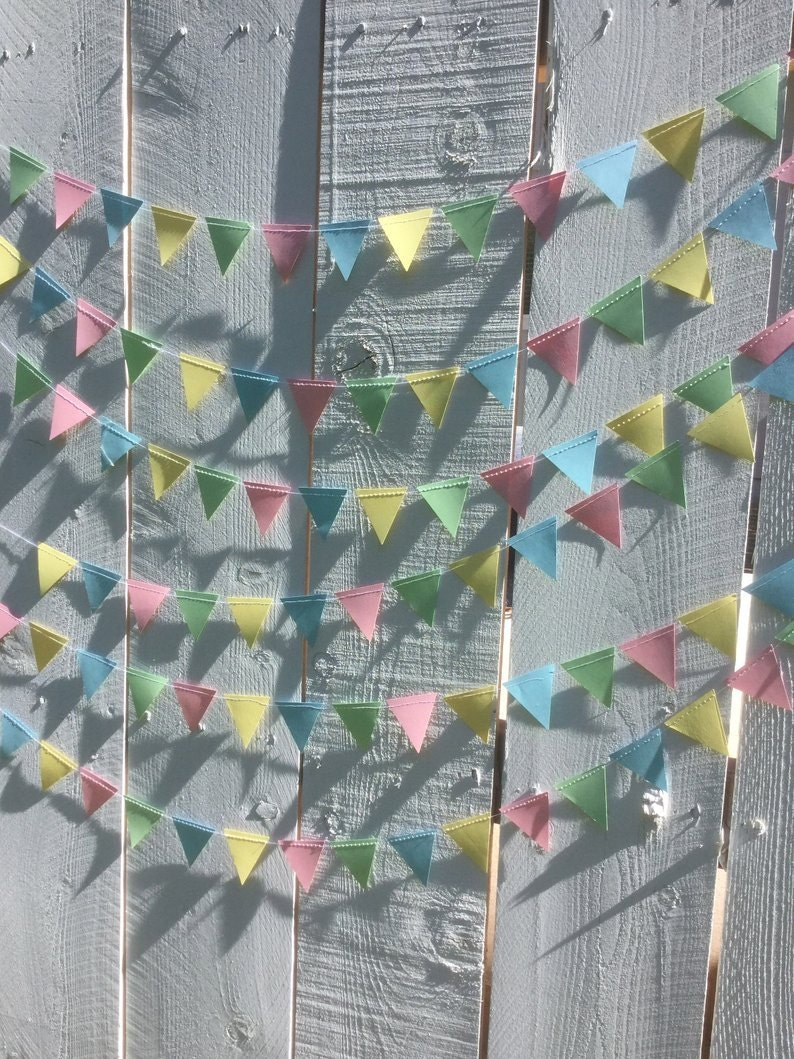 triangle bunting garland in pastel pink yellow mint and blue