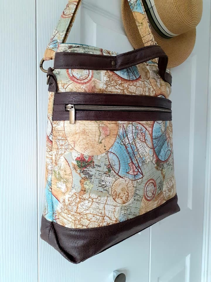 Vintage Map tote Joey U-N-I Sex Tote pattern by Sincerely Jen