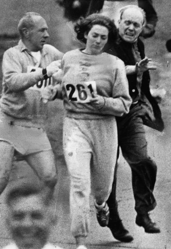 Kathrine Switzer being chased at the Boston marathon