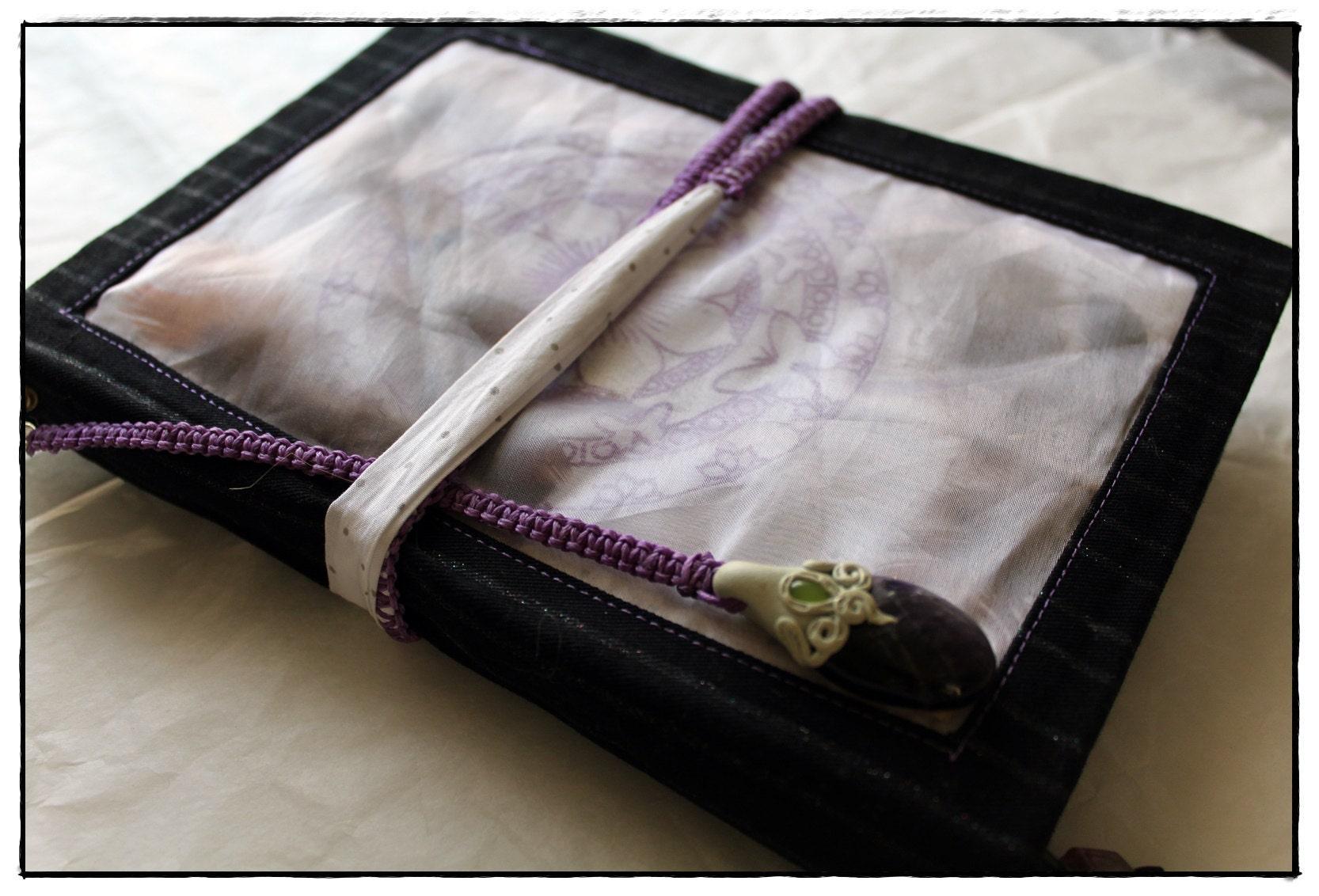 Amethyste, attrape rêve, carnet artisanal, lithotherapy, handmade notebook, bullet journal, plusmes, mandala