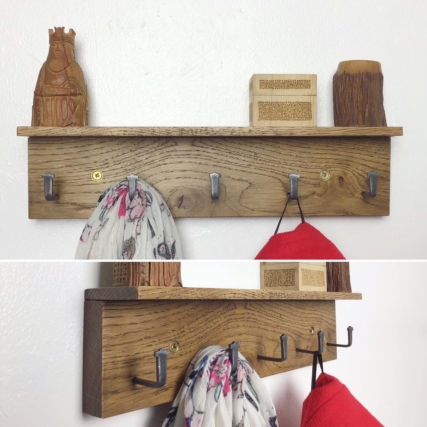 MICRO Coat Rack - dark Oak wood stain - 33cm wide but 5 metal hooks - made in Wales UK