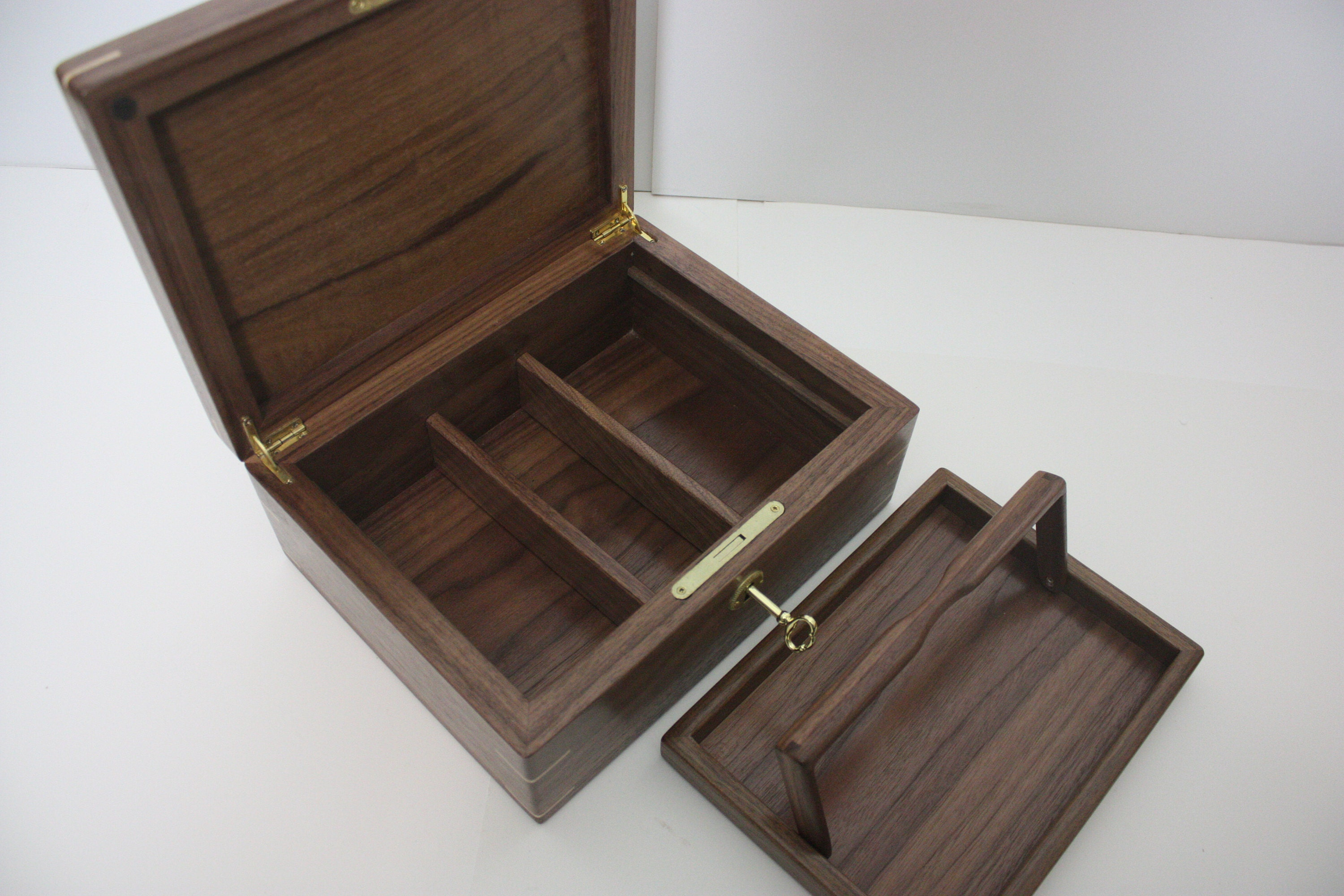 Wood Box with Tray and Dividers