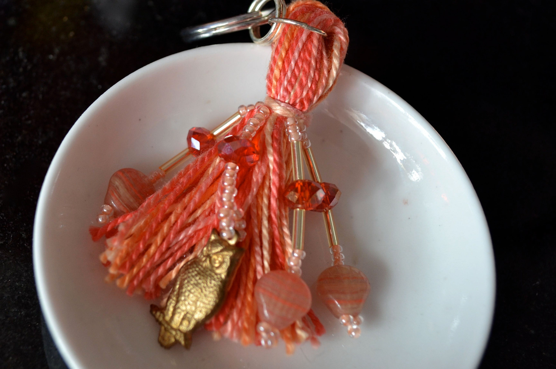 Brass owls on pink beaded tassel keyring