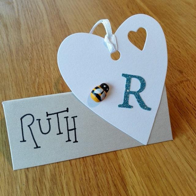 wooden bees heart card handmade