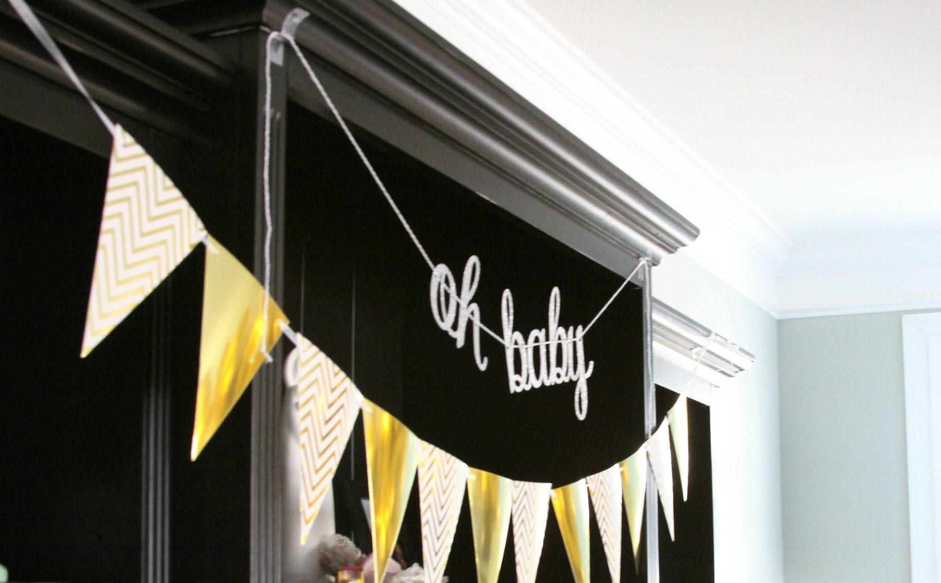 Oh Baby Baby Shower Banner in Silver