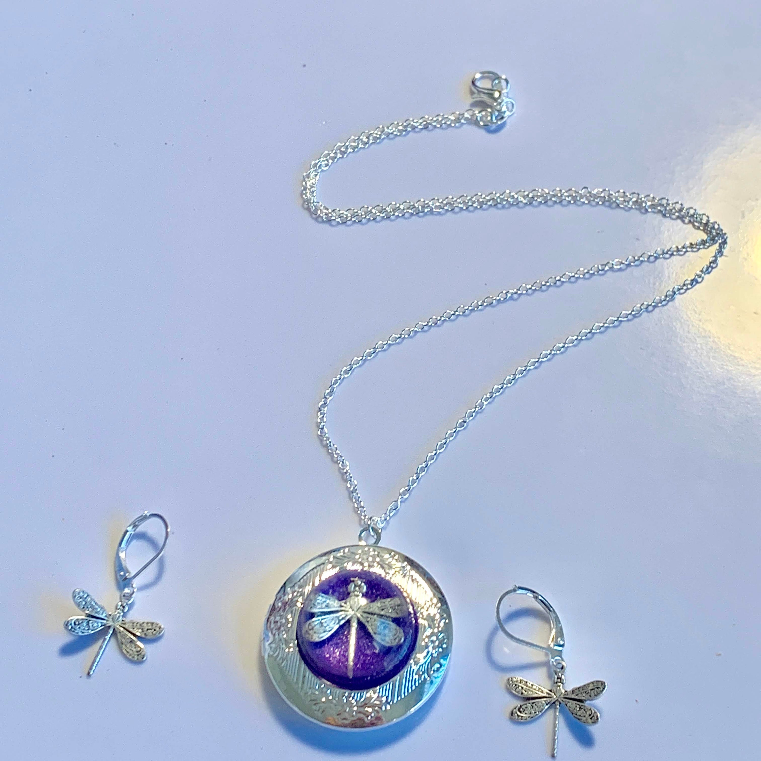 Purple Dragonfly Locket with Matching Earrings