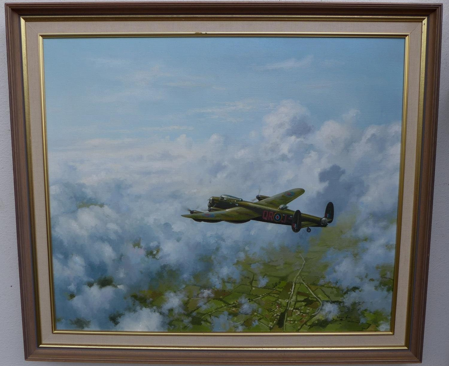 Fabulous Oil Painting On Canvas Of The Lancaster Bomber By Adrian Neal