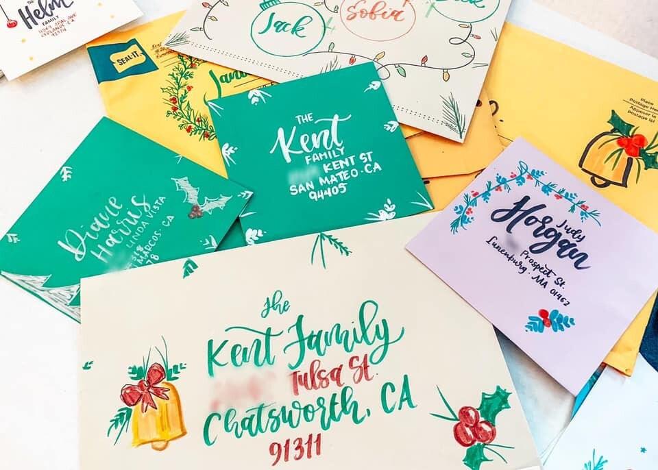 christmas themed envelopes addressed