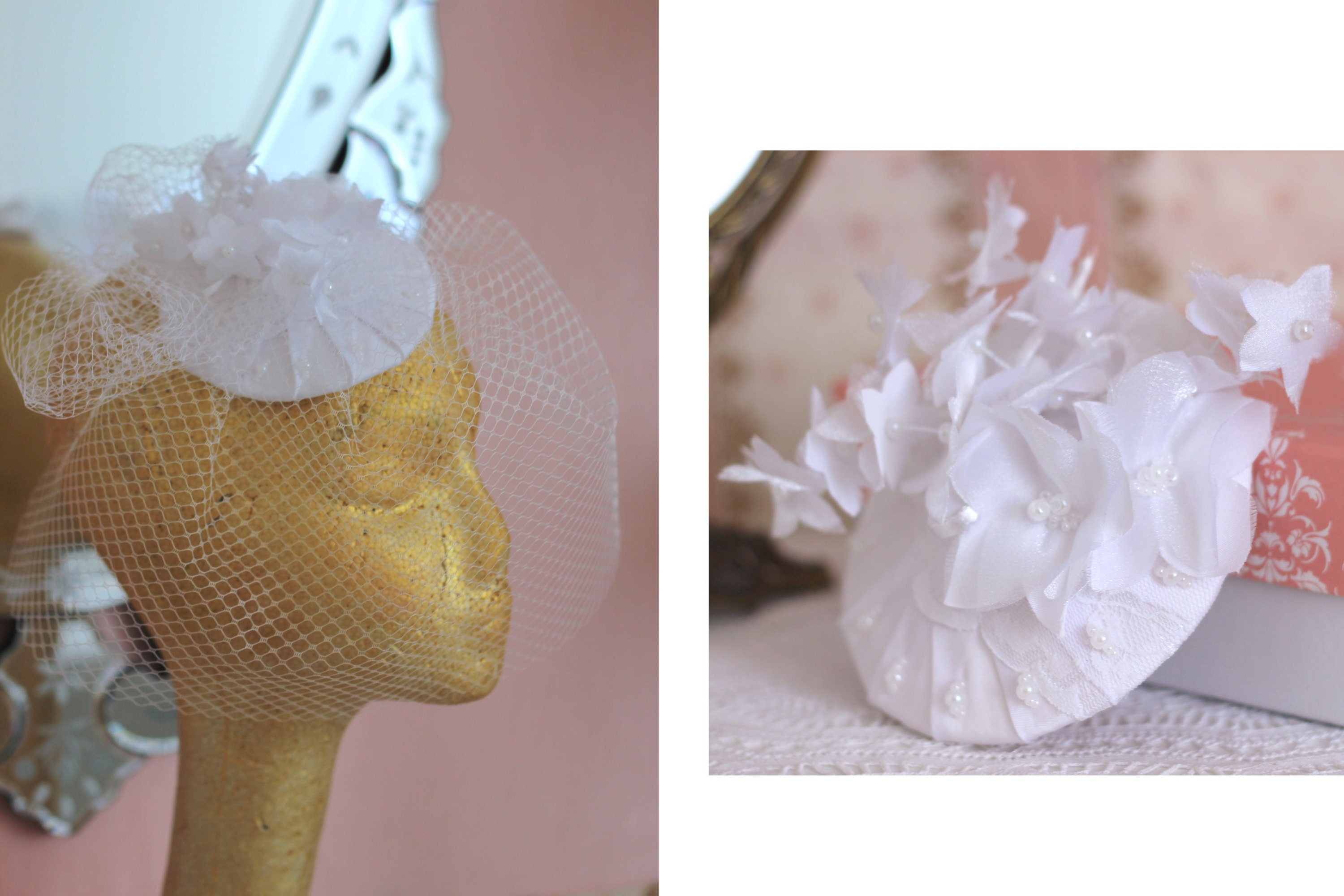 Versatile fascinator mini hat for brides. It can be can uses with or without birdcage veil, by Elizabete Munzlinger