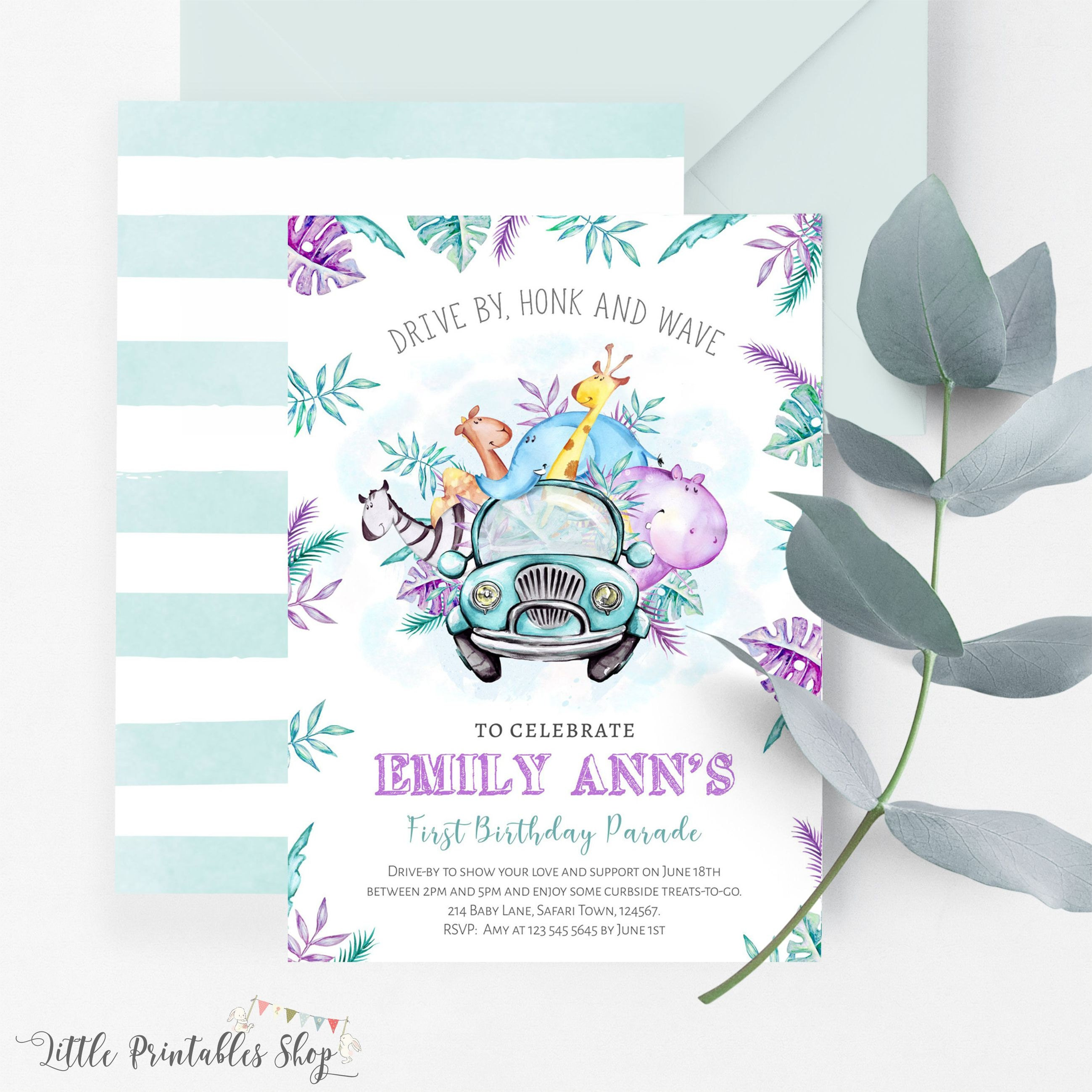 Drive By Invitation | Drive By Safari Birthday | Drive By Birthday Party Ideas | Little Printables Shop | Drive Through Birthday | Drive By First Birthday Party Invite | Honk and Wave Invitation | First Birthday Party Ideas Quarantine | Social Distance Party Invitation