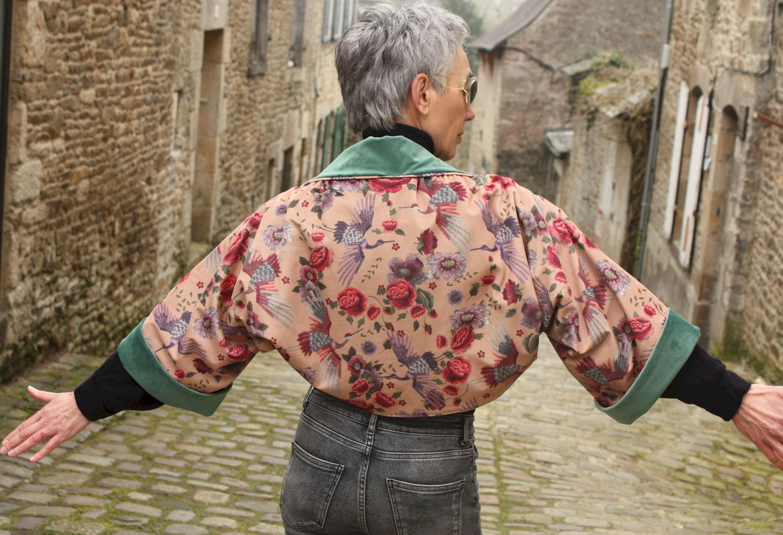 Boléro - Kimono Velours imprimé Fleurs